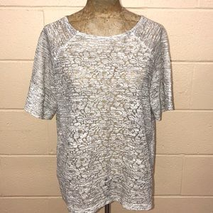 The Limited lace white & light gray sheer top